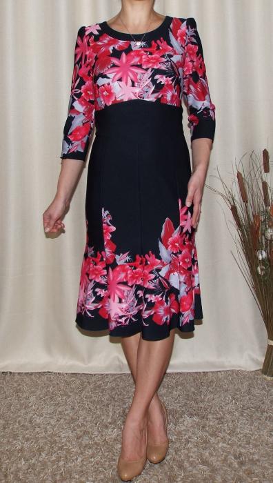 Rochie eleganta cu imprimeu si maneca trei sferturi - Georgiana Negru 0