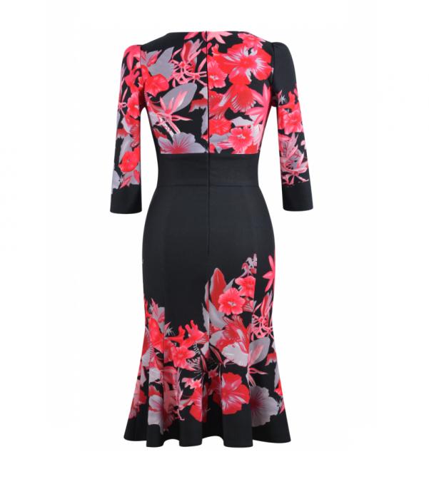 Rochie eleganta cu imprimeu si maneca trei sferturi - Georgiana Negru 1