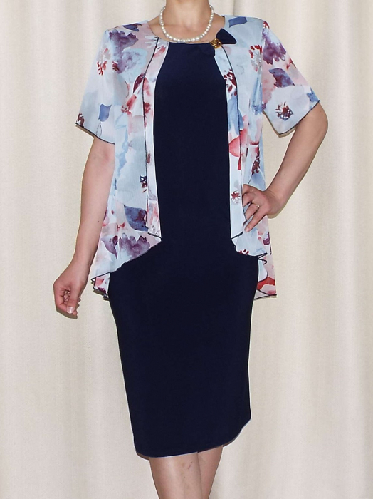 Rochie eleganta cu maneca scurta si imprimeu floral - Erika Bleumarin [0]