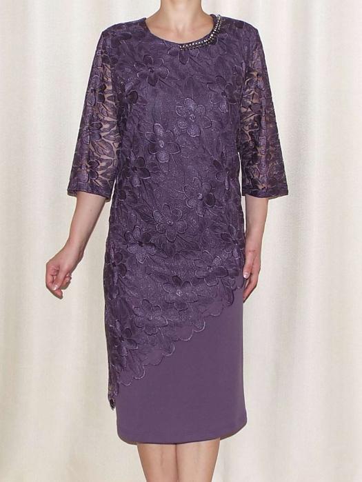 Rochie eleganta cu maneca trei sferturi - Catalina Mov [0]
