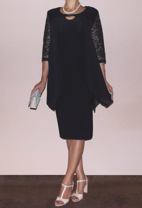 Rochie eleganta cu maneca trei sferturi - Doris Negru 1