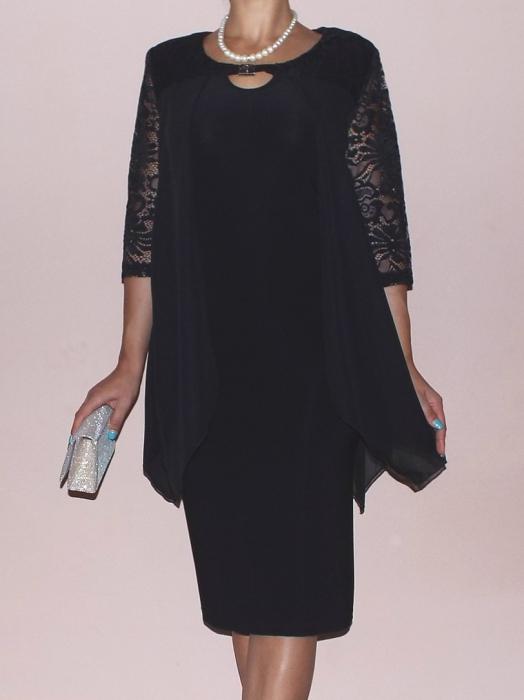 Rochie eleganta cu maneca trei sferturi - Doris Negru 0