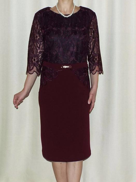Rochie eleganta cu maneca trei sferturi - Narcisa Visiniu 0