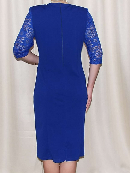 Rochie eleganta cu strasuri si maneca trei sferturi - Felicia Albastru 1