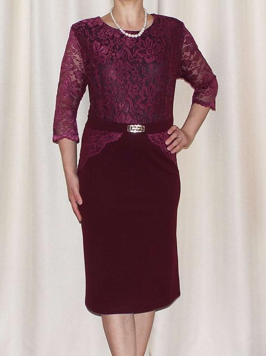 Rochie eleganta cu maneca trei sferturi si accesoriu - Cecilia Grena [0]