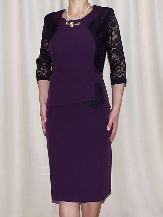 Rochie eleganta cu maneca trei sferturi si accesoriu la gat - Renata Mov 0
