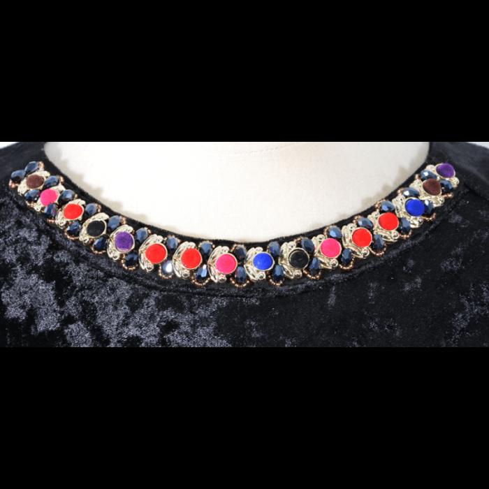 Rochie eleganta cu maneca trei sferturi si colier - Ravi Negru [1]