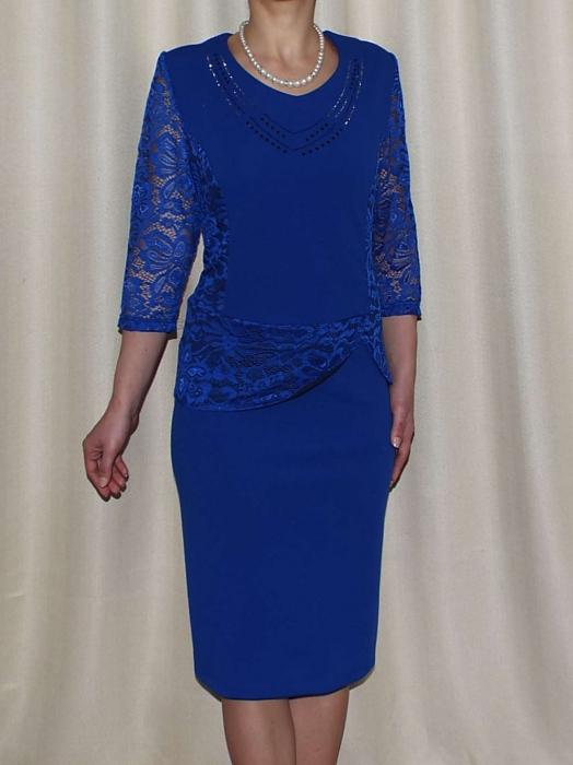 Rochie eleganta cu strasuri si maneca trei sferturi - Felicia Albastru 0