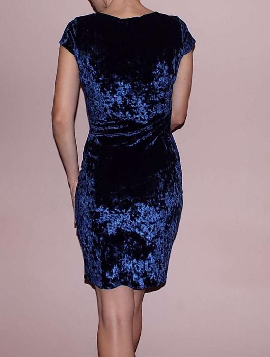 Rochie eleganta din catifea bleumarin cu broderie florala 3D - Vanessa 1