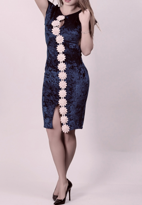Rochie eleganta din catifea bleumarin cu broderie florala 3D - Vanessa 0