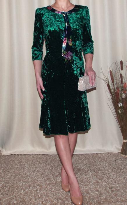 Rochie eleganta din catifea cu esarfa nedetasabila - Margot verde 0