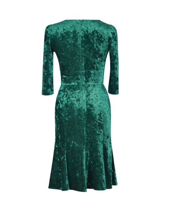 Rochie eleganta din catifea cu esarfa nedetasabila - Margot verde 1