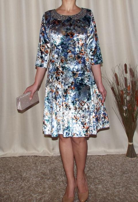 Rochie eleganta din catifea cu imprimeu floral - Dalia Gri 0