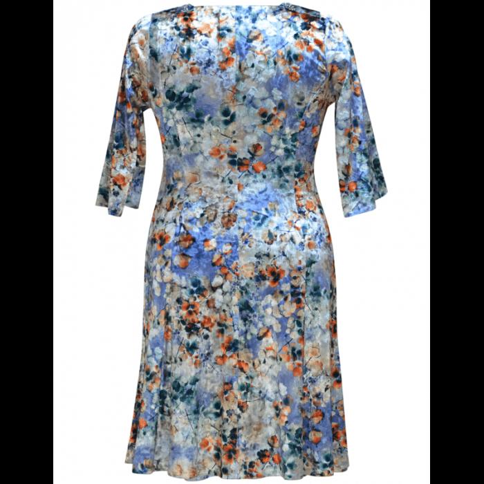 Rochie eleganta din catifea cu imprimeu floral - Dalia Gri 1