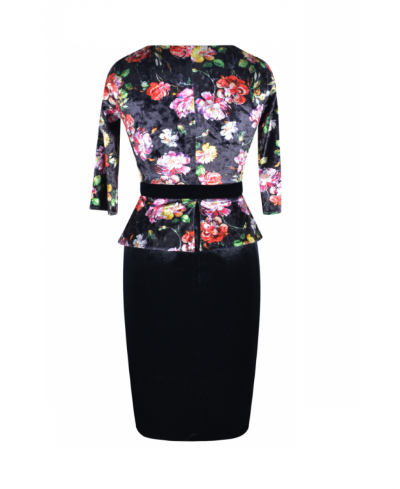 Rochie eleganta din catifea cu imprimeu floral - Hara Negru 2