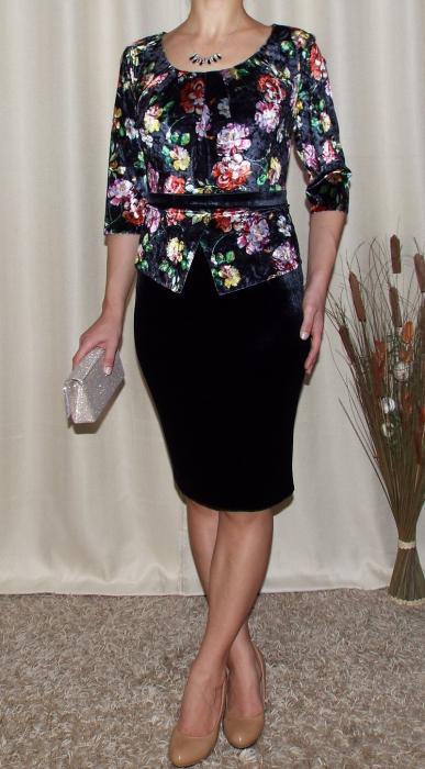 Rochie eleganta din catifea cu imprimeu floral - Hara Negru 1