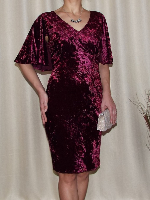 Rochie eleganta din catifea cu maneca scurta - Agnes 0