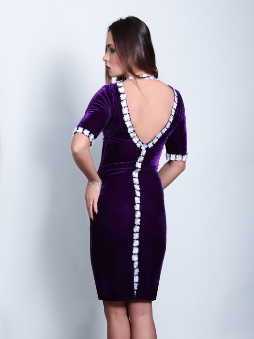Rochie eleganta din catifea mov cu spate gol - Ryta 1