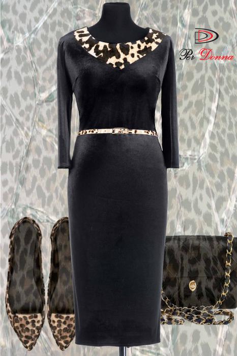 Rochie eleganta din catifea neagra cu insertii animal print - ALLY 1