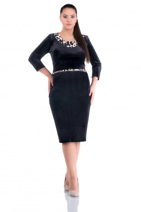 Rochie eleganta din catifea neagra cu insertii animal print - ALLY 0