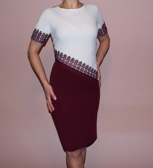 Rochie eleganta din crep cu terminatii din dantela - Eliza 0