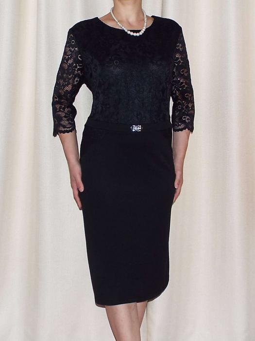 Rochie eleganta din crep elastic si dantela - Cecilia Negru [0]