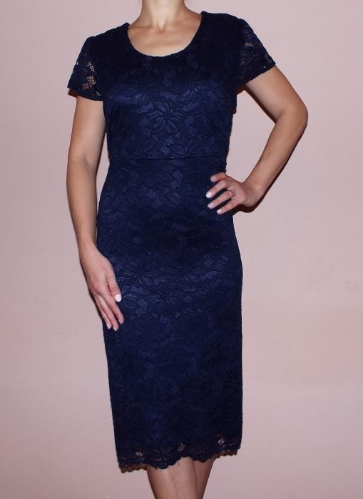 Rochie eleganta din dantela bleumarin cu maneca scurta - Letty [0]