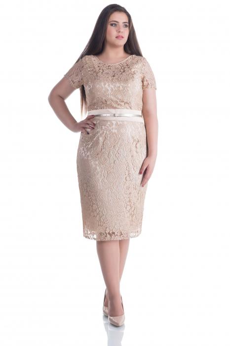 Rochie eleganta din dantela crem cu maneca scurta– Nemira C [0]
