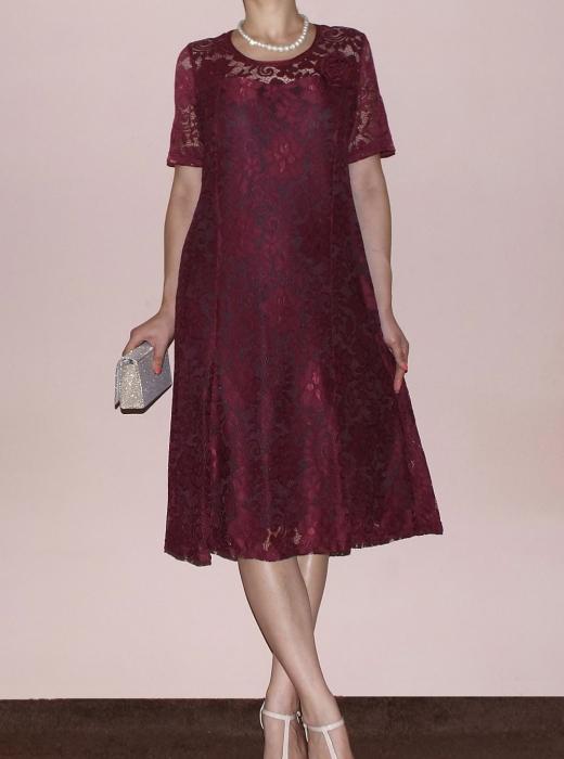 Rochie eleganta din dantela cu brosa detasabila - Melisa Bordo 0