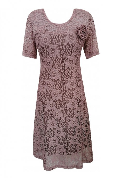 Rochie eleganta din dantela cu brosa - Melisa Cappuccino 0