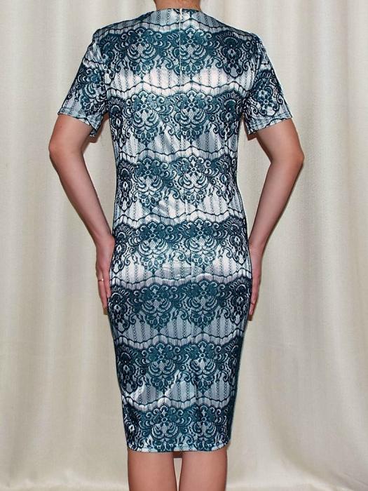 Rochie eleganta din dantela cu maneca scurta - Ivona Turcoaz 1