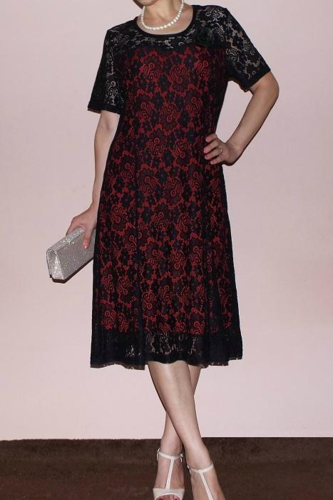 Rochie eleganta din dantela cu maneca scurta - Melisa Negru [0]