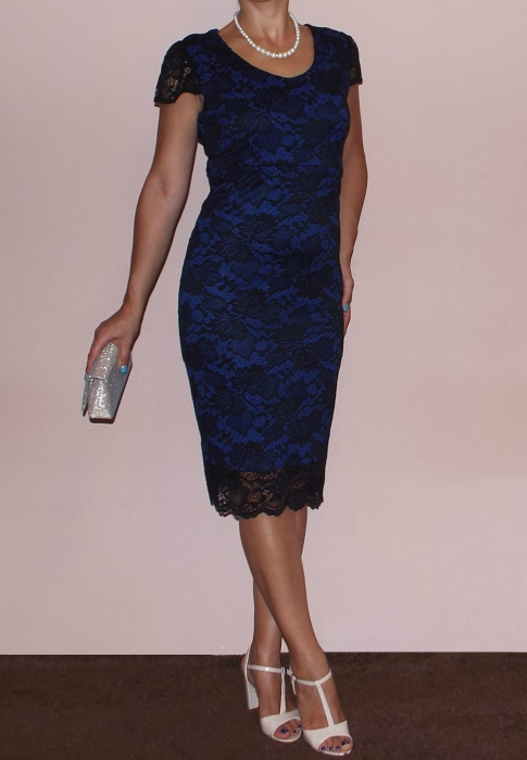 Rochie eleganta din dantela cu maneca scurta - Milena Albastru [0]