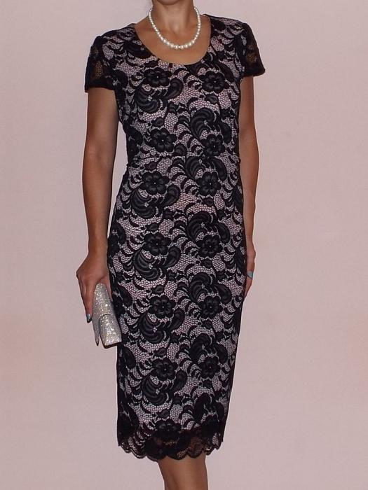 Rochie eleganta din dantela cu maneca scurta - Vega Crem [0]