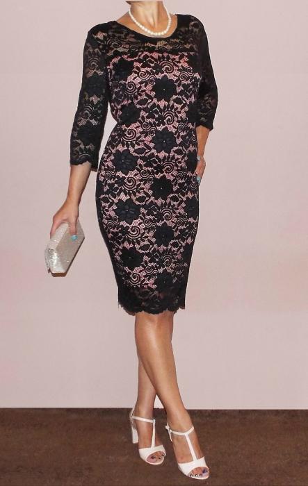 Rochie eleganta din dantela cu maneca trei sferturi - Natalia 1