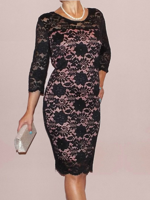 Rochie eleganta din dantela cu maneca trei sferturi - Natalia 0