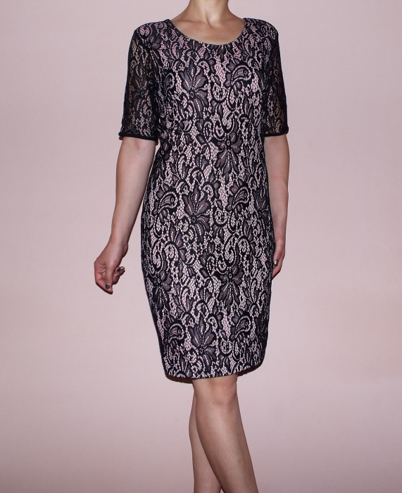 Rochie eleganta din dantela neagra cu dublura bej roze - Gia Bej 0