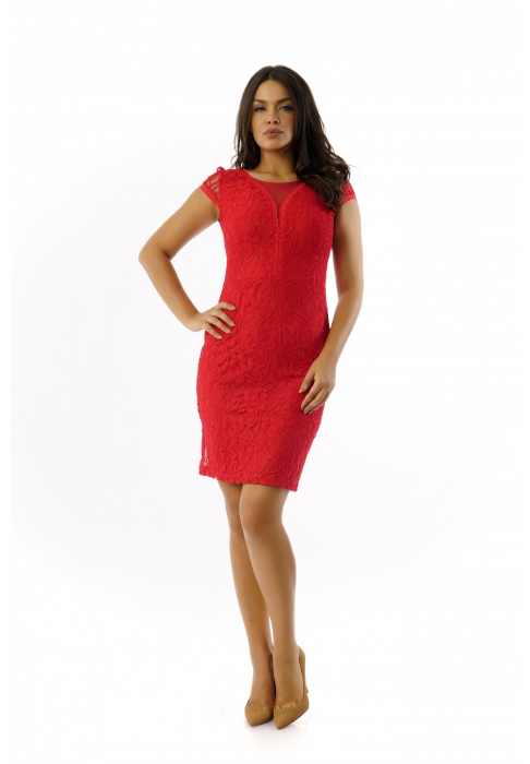 Rochie eleganta din dantela rosie cu maneca scurta– R340R 0