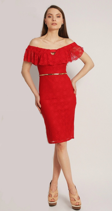 Rochie eleganta din dantela rosie cu volan la piept - Edith 0