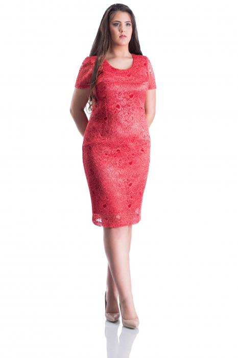 Rochie eleganta din dantela roz-corai cu maneca scurta-Teodora 0