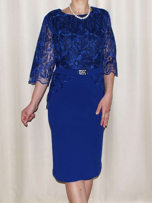 Rochie eleganta din dantela si crep - Narcisa Albastru [0]