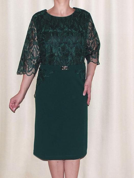 Rochie eleganta din dantela si crep  - Narcisa Verde [0]
