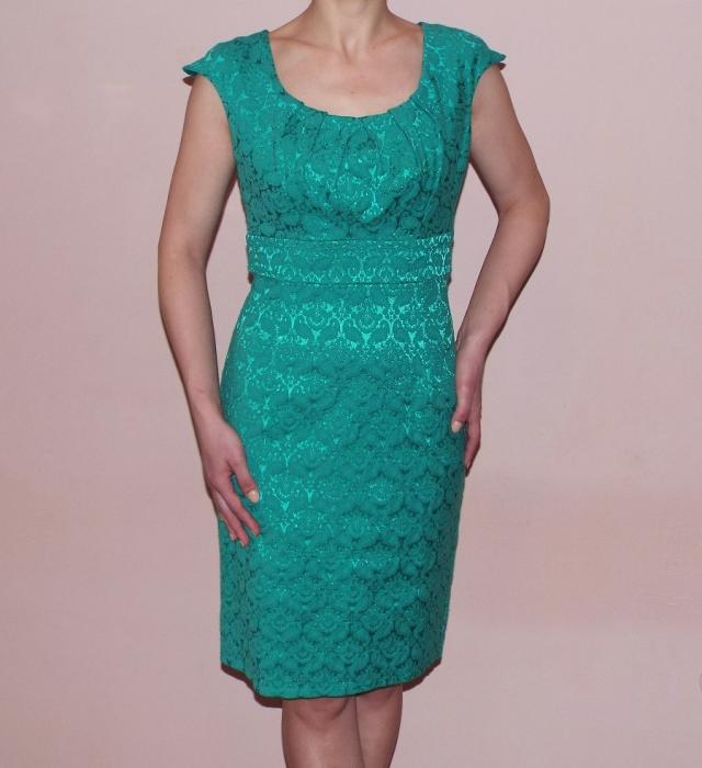 Rochie eleganta din jacard cu maneca scurta - Simina Turcoaz 0