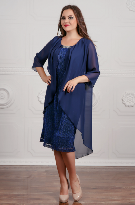 Rochie eleganta din lame plisat si voal fin - Lorena Bleumarin 0