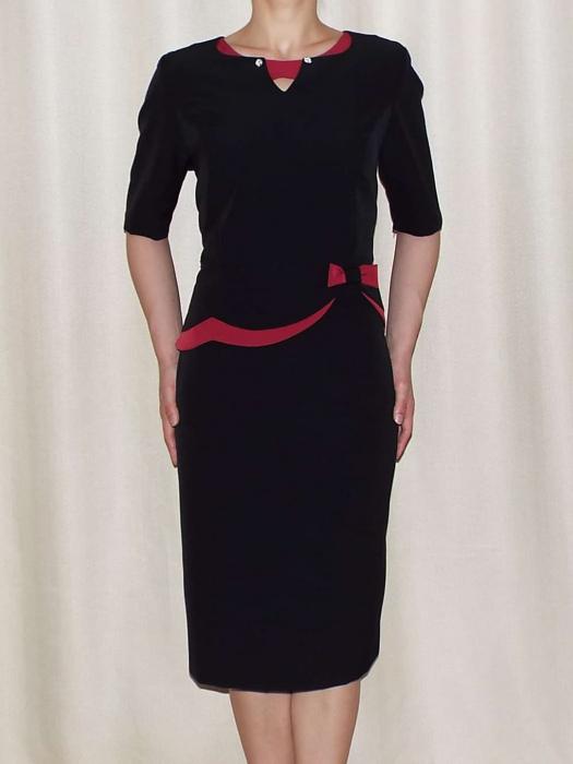 Rochie eleganta din stofa cu funda grena - Luiza negru 0