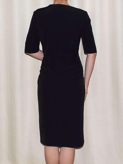 Rochie eleganta din stofa cu funda grena - Luiza negru 1