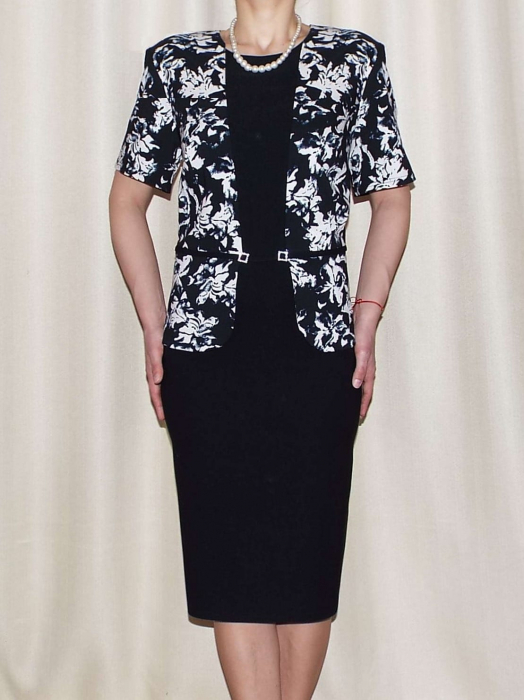 Rochie eleganta din stofa cu maneca scurta - Olivia Negru 0