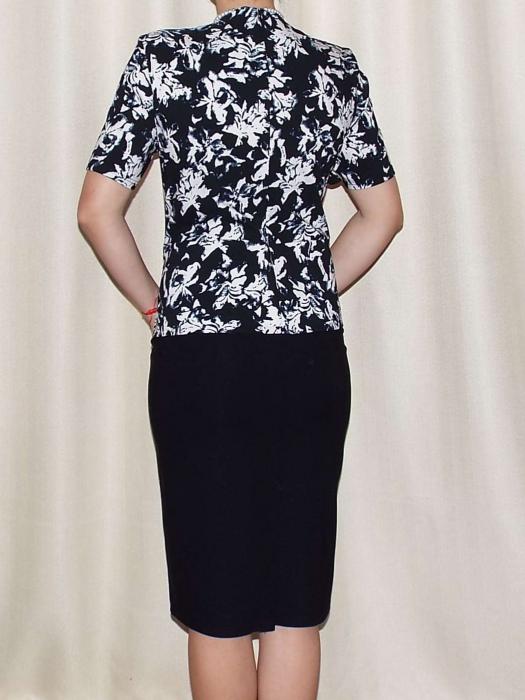Rochie eleganta din stofa cu maneca scurta - Olivia Negru 1