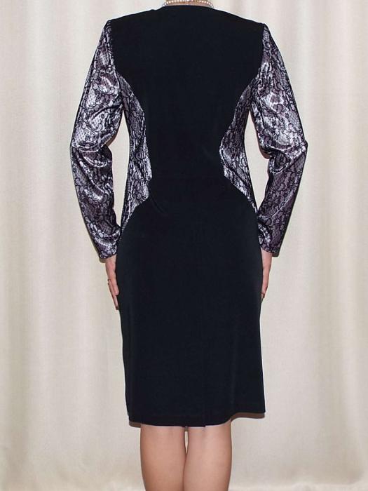 Rochie eleganta din stofa si dantela - Amira Negru 1