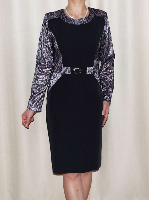 Rochie eleganta din stofa si dantela - Amira Negru 0